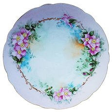 """Beautiful Vintage Bavaria 1900's Hand Painted """"Apple Blossoms"""" 12-1/2"""" Floral Plate by Artist, """"Thakla Buenger"""""""