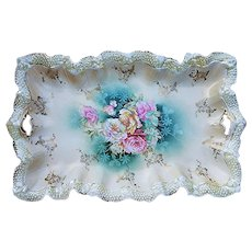 """Wonderful RS Prussia 1900's """"Red, Pink, Yellow, & White Roses"""" 11-5/8"""" Stipple Mold Floral Dresser Tray"""