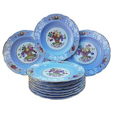 """50% OFF  Spectacular Mint Spode Copeland English Pre-1900 Hand Painted """"Standing Basket of Fruits"""" Set of 10 Matched Luncheon Plates"""