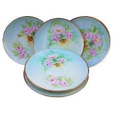"Gorgeous Havilland France 1900's Hand Painted ""Pink Roses"" Set of 5 Floral 8-1/2"" Plates"