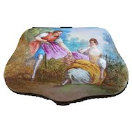 """Spectacular France Pre-1800 Hand Painted """"Romantic Couple Lunch in the Meadow"""" 6-3/8"""" Scenic Dresser Box Casket by the French Artist, """"Lucas"""""""