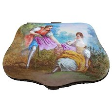 "Spectacular France Pre-1800 Hand Painted ""Romantic Couple Lunch in the Meadow"" 6-3/8"" Scenic Dresser Box Casket by the French Artist, ""Lucas"""