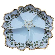 "Beautiful T & V Limoges France 1900's Hand Painted ""Acorn & Oak Leaf""  8-1/4"" Five Well Oyster Plate"