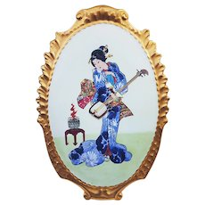 """Vintage Limoges France 1900's Hand Painted """"Geisha Girl"""" 13-1/4"""" Scenic Plaque"""