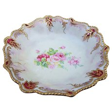 "Gorgeous RS Prussia 1900's ""Red & Pink Roses"" Pearlized with Red Jewels Floral Berry Bowl"