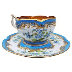 """Exquisite Vintage Dresden 1900's Hand Painted """"Violets"""" Floral Cup & Saucer Especially Made for Burley & Co."""