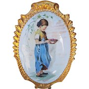 """Large & Beautiful Limoges France 1900's Hand Painted """"Young Peasant Girl"""" 13-1/2"""" Scenic Plaque"""