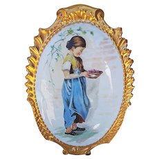 "Large & Beautiful Limoges France 1900's Hand Painted ""Young Peasant Girl"" 13-1/2"" Scenic Plaque"