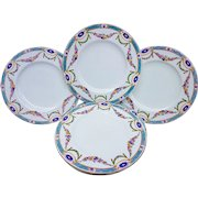 """Royal Worcester 1891 Set of 8 Hand Painted """"Chain of Petite Pink, Lavender, & Yellow Enamel Roses"""" Floral Dessert Plates"""