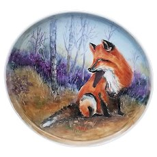 """Large Captivating Limoges 1900's Hand Painted """"Red Fox in Woodland Setting"""" 14-1/2"""" Scenic Tray by Artist, """"M. Swanson"""""""