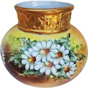 """Gorgeous J.P. Limoges France 1913 Hand Painted """"White Daisy"""" Heavy Gilded Gold Floral Vase by the Artist, """"Cervenka"""""""