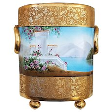 "Gorgeous Bavaria & Osborne Studio of Chicago 1914 Etched Gilded Gold ""Italian Gardens"" Scenic Cache Pot by Listed Artist, ""Asbjorn Osborne"""