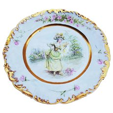 "50% OFF  T & V Limoges France 1900's Hand Painted ""French Aristocratic Lady"" & ""Pink Roses"" Scenic Rococo Style Plate by Artist, ""E. Saille"""