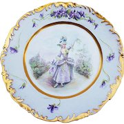 """50% OFF  T & V Limoges France 1900's Hand Painted """"French Aristocratic Lady"""" & """"Violets"""" Scenic Rococo Style Plate by Artist, """"E. Saille"""""""