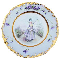 "50% OFF  T & V Limoges France 1900's Hand Painted ""French Aristocratic Lady"" & ""Violets"" Scenic Rococo Style Plate by Artist, ""E. Saille"""
