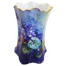 "Fabulous Havilland & Co. Limoges France 1900's Hand Painted Deep Vibrant ""Violets"" Vintage Floral Spooner"