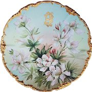 """Gorgeous Jean Pouyat Limoges France 1900's Hand Painted """"Snow Queen Clematis"""" 9-1/2"""" Rococo Style Floral Plate by the Artist, """"Ester Miler"""""""
