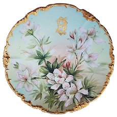 "Gorgeous Jean Pouyat Limoges France 1900's Hand Painted ""Snow Queen Clematis"" 9-1/2"" Rococo Style Floral Plate by the Artist, ""Ester Miler"""