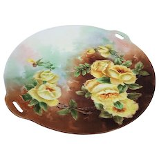 """Exceptional Omhe Germany 1900's Hand Painted Vibrant """"Yellow Roses"""" 10"""" Floral Plate"""