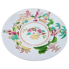 """Vintage Chinese Pre-1900 Hand Painted Scenic 8-1/2"""" Plate"""
