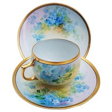 """Gorgeous JC Bavaria & Osborne Studio of Chicago 1914 Hand Painted """"Forget Me Not"""" 3-Pc Cup, Saucer, & Plate Floral Set by """"Asbjorn Osborne"""""""