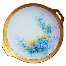 """Wonderful Thomas Bavaria & Osborne Studio of Chicago 1920's Hand Painted """"Forget Me Not"""" 11"""" Floral Plate by the Artist, """"Asbjorn Osborne"""""""
