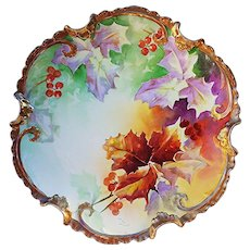 "Fabulous Coronet Limoges France Vintage 1900's Hand Painted ""Christmas Holly & Berry"" 11-1/2"" Rococo Plate by French Artist, ""Duval"""