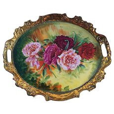 """Spectacular Victoria Austria 1900's Hand Painted """"Red, Deep Pink, Pink, & Burnt Orange Carnations"""" 13"""" Fancy Scallop Floral Tray by """"Th. Kreis"""""""