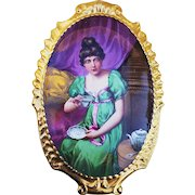 """Museum Quality 13-1/4"""" Limoges France 1900 Hand Painted """"Lady Having Tea"""" Rococo Style Scenic Plaque by Listed Artist, """"E. Furland"""""""