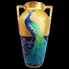 "Heinrich & Co. Selb Bavaria & Pickard Studio of Chicago 1925 Hand Painted ""Peacock on Black & Gold Encrusted"" Scenic Vase by ""Curtis Marker"" - Red Tag Sale Item"