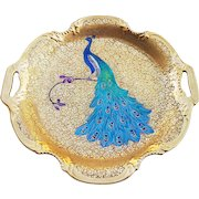 "Pickard Studio of Chicago 1930 Hand Painted ""Peacock on Gold Encrusted"" Scenic 10-1/2"" Plate by ""Curtis Marker"""