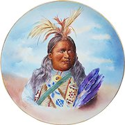 """Outstanding Jean Pouyat Limoges France 1900's Hand Painted Portrait of """"Howard Frost, Omaha Indian Tribe"""" 13-3/4"""" Scenic Studio Plaque"""