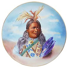 "Outstanding Jean Pouyat Limoges France 1900's Hand Painted Portrait of ""Howard Frost, Omaha Indian Tribe"" 13-3/4"" Scenic Studio Plaque"