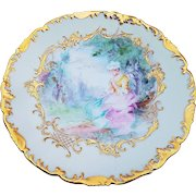 """Gorgeous T & V Limoges France 1900's Hand Painted Portrait of A """"Lady Sitting In a Park"""" 9-1/4"""" Scenic Rococo Style Plate"""