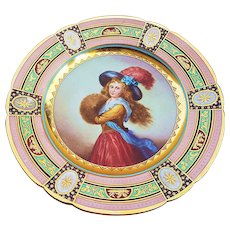 """Beautiful Royal Vienna Vintage 1900's Hand Painted """"Muff Girl"""" 9-1/2"""" Portrait Plate"""
