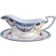 """Royal Worcester 1891 Hand Painted """"Chain of Petite Pink, Lavender, & Yellow Enamel Roses"""" Floral Gravy Boat & Under Plate"""
