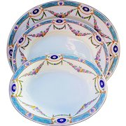 "Royal Worcester 1891 Hand Painted Set of 3 ""Chain of Petite Pink, Lavender, & Yellow Enamel Roses"" Floral Platters & Bowl"
