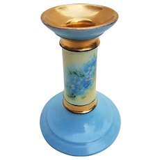 "Gorgeous William Guerin Limoges France 1900's Hand Painted ""Forget Me Not"" Floral Candlestick Holder by the Artist, ""Wickemeyer"""