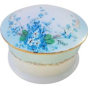 "Beautiful O.E. & G Royal Austria 1900's Hand Painted ""Forget Me Not"" Floral Dresser Box by Pickard Artist, ""Minnie Luken"""