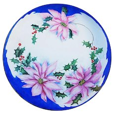 """Gorgeous Bavaria 1900's Hand Painted """"Christmas Poinsettia & Holly & Berry"""" 10-1/4"""" Floral Plate by Artist, """"Grace Turner"""""""