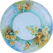 """Beautiful Jean Pouyat Limoges France 1900's Hand Painted """"Yellow Roses"""" 10-1/2"""" Floral Plate"""