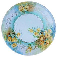 """Beautiful Jean Pouyat Limoges France 1900's Hand Painted """"Yellow Roses"""" 10-1/2"""" Floral Plate - Red Tag Sale Item"""