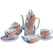 """Attractive Royal Worcester Pre-1880 Hand Painted """"Red Floral & Pine Cone"""" 9 Pc Vintage Tea Set"""
