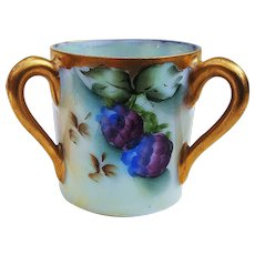 """Beautiful Vintage German 1900's Hand Painted """"Blackberry"""" 3-Handle Toothpick Holder by the Artist, """"L. Davis"""""""