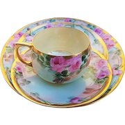 """Fabulous Bavaria Vintage 1900's Hand Painted """"Pink Roses"""" 4-Pc Floral Cup, Saucer, & 2 Plates Set by Artist, """"H. Reynolds"""""""