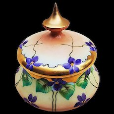 "Gorgeous Pickard Studio of Chicago Vintage 1898 Hand Painted ""Violets"" Floral Dresser Box"