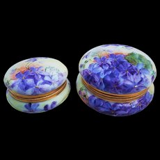 "Beautiful T & V Limoges France Vintage 1900's Hand Painted Pair of Vibrant ""Violets"" Floral Dresser Boxes by the Artist, ""F. Forr"" - Red Tag Sale Item"