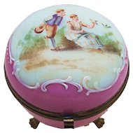 "Beautiful Vintage France 1900 Opal Glass Hand Painted ""Courting Couple"" Scenic & 3-Footed Dresser Box"