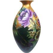 """18-1/2"""" Gorgeous Vintage Willet's Belleek 1900's Hand Painted """"Purple & Burnt Orange Geraniums & Macaw Parrots"""" Floral & Scenic Vase"""