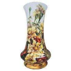 "Gorgeous Delinieres & Co. Limoges France 1900 Hand Painted ""Sunflower & Burnt Orange Geraniums"" 13"" Floral Vase"